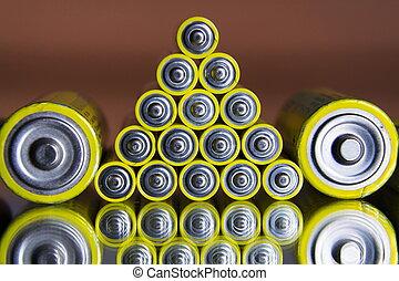 aa, couleur, résumé, haut, jaune, piles, fond, fin, pile