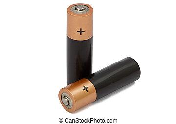 aa, coupure, batterie, deux, isolé, blanc, sentier