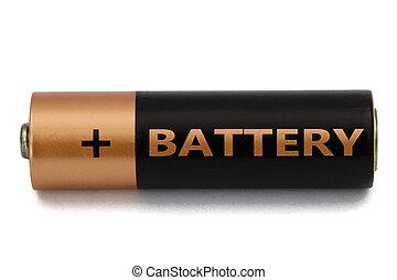 aa, coupure, batterie, isolé, une, blanc, sentier