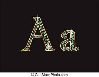 aa, ingioiellato, font, smeraldo