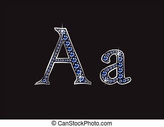 aa, ingioiellato, font, zaffiro