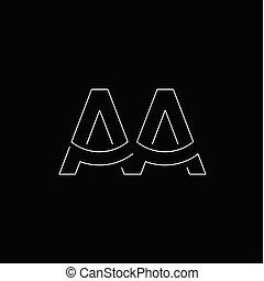 aa, początkowy, wektor, litera, logo, kreska