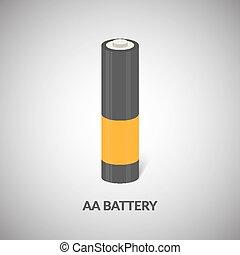 aa, walec, bateria, odizolowany, rysunek, wektor, icon., ...