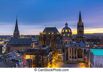 Aachen Cathedral at blue hour