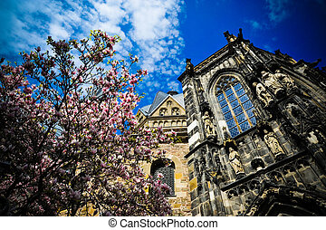 Aachen Cathedral - Looking up at the Aachen Cathedral and...