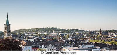 aachen city panorama at dusk