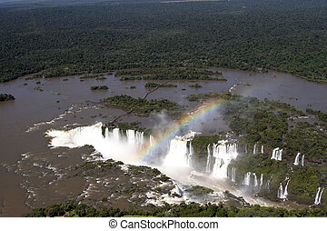 Aaerial view of Iguazu waterfalls from helicopter. Border of Brazil and Argentina.