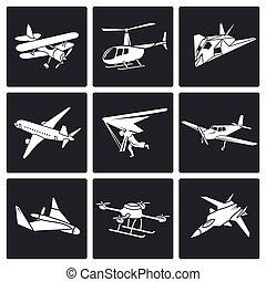 aaircrafts, vector, conjunto, iconos