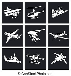 Aaircrafts Vector Icons Set - airplane icons set Isolated...