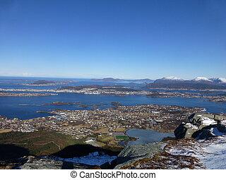 Aalesund from Svanshornet, Sula island 552 meters above sealevel