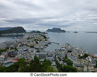 Aalesund harbour north entrance with islands in background