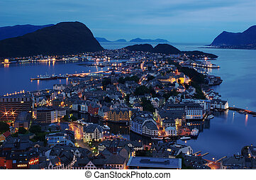 The Norwegian coastal town of Aalesund photographed at night
