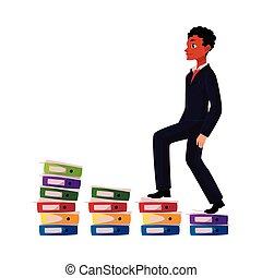 aambeien, carrièreladder, black , amerikaan, zakenman, afrikaan, documenten, beklimming
