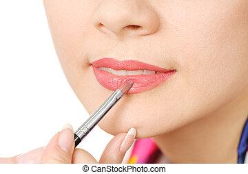 aan het dienen, glanzend, vloeistof, lippenstift