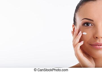aan het dienen, haar, gezonde , gezicht, aantrekkelijk, meisje, moisturizer