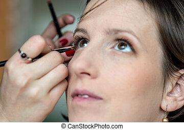aan het dienen, kunstenaar, maken, makeup, op, professioneel