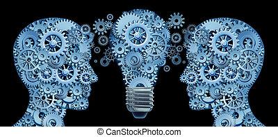 aan het werk aaneen, als, een, team, voor, innovatie