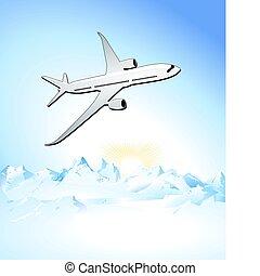 aan reis, door, lucht