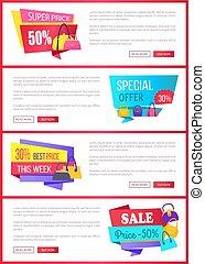 aanbod, promo, groot, verkoop, internet, pagina's, bijzondere
