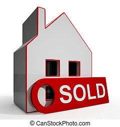 aanbod, succesvolle , woning, sold, verkoping, of, optredens