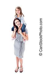 aandachtig, moeder, geven, haar, dochter, ritje op de rug rit