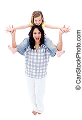 aandachtig, moeder, geven, ritje op de rug rit, om te, haar, dochter