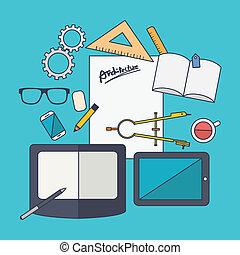 aandeel, concept, plat, ontwerp, vector