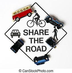 aandeel, de, straat, concept, meldingsbord