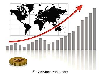 aandeel diagram, en, wereldkaart