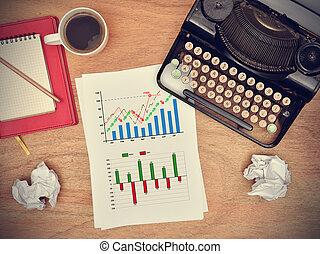 aandeel diagram, tekening, op, papier