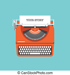 aandeel, jouw, verhaal, plat, illustratie
