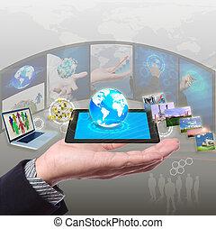 aandeel, stramimg, informatie, synchronisatie, wolk, networking