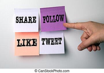aandeel, volgen, marketing., tweet, zoals, media, concept, sociaal