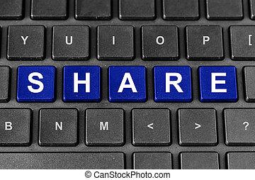 aandeel, woord, delen, toetsenbord