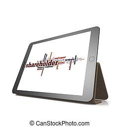 aandeelhouder, woord, wolk, op, tablet
