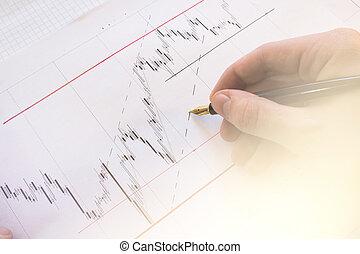 aandelenmarkt grafiek, op, forex, diagrammen, en, geld, leven, online, screen., beursmarkt, financiën, graph., stockexchange, market., professioneel, bank, makelaar, workstation., grafiek, achtergrond., forex, trade., licht, verstevigend