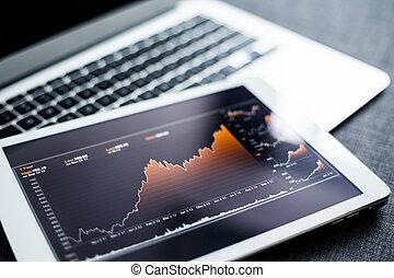 aandelenmarkt grafiek, op, tablet pc
