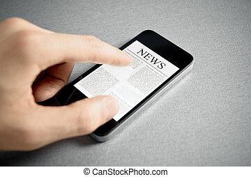 aandoenlijk, nieuws, op, beweeglijk, smartphone