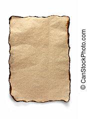 aangebrand, blad, perkament