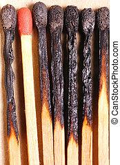 aangebrand, stellen, met, rood, lucifer