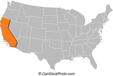 aangepunt, kaart, verenigd, californië, staten