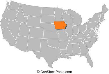 aangepunt, kaart, verenigd, iowa, staten