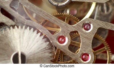 aangrijpende uitdossingen, binnen, werkende , horloge, mechanisme, dichter