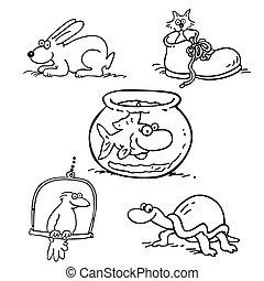 aanhalen, dier, verzameling, spotprent