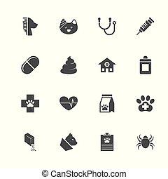 aanhalen, dierenarts, -, plat, vector, iconen