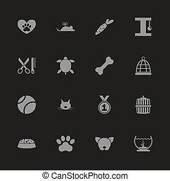 aanhalen, -, plat, vector, iconen