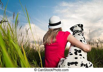 aanhalen, vrouw, jonge, haar, dog