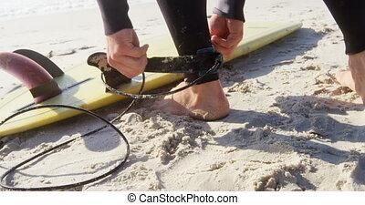 aanhebben, enkel, mannelijke , surfer, veiligheid, riem, 4k