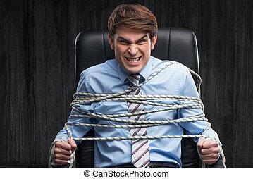 aanhouden, boos, onder, geknoopte, zakenman