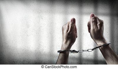 aanhouden, handcuffed, man, -, gevangenis